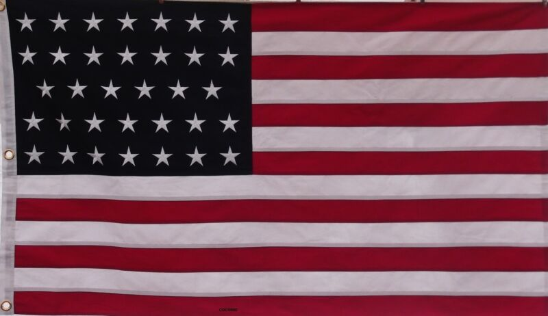 HEAVY COTTON LINEAR 34 STAR AMERICAN FLAG - Embroidered & Sewn - HISTORICAL USA