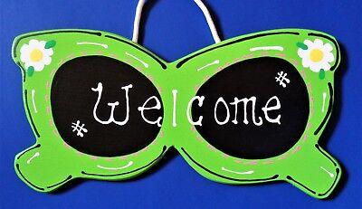 SUNGLASSES WELCOME SIGN Wall Hanger Hanging Plaque SEASONAL Pool Summer Decor - Halloween Pool Decorations