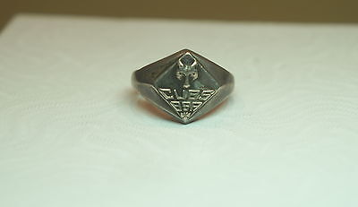Vtg Sterling Silver CUBS BSA Boy Scouts Ring Signed Marked Size 6 Great -C
