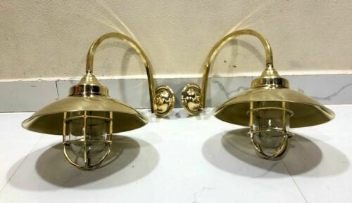 Wall Mount Bulkhead Nautical Style Brass Arm New Light With Shade 2 Pcs