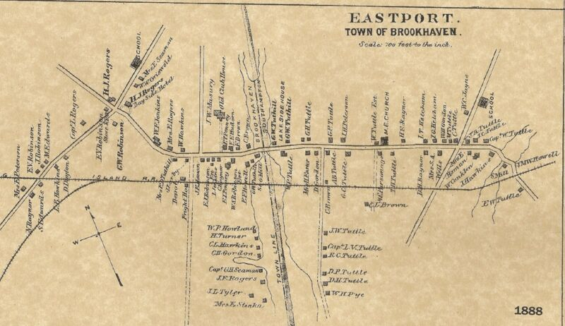 Eastport  Brookhaven NY 1888 Maps with Homeowners Names Shown