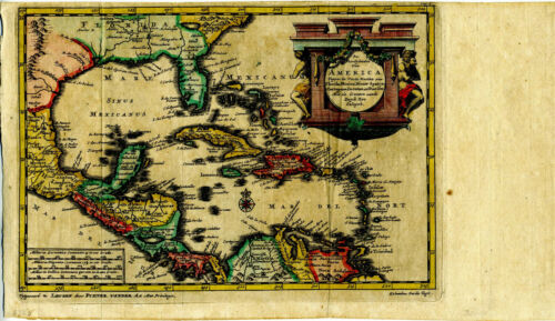 1707 Genuine Antique map West Indies, Caribbean, Florida. by Van Der Aa