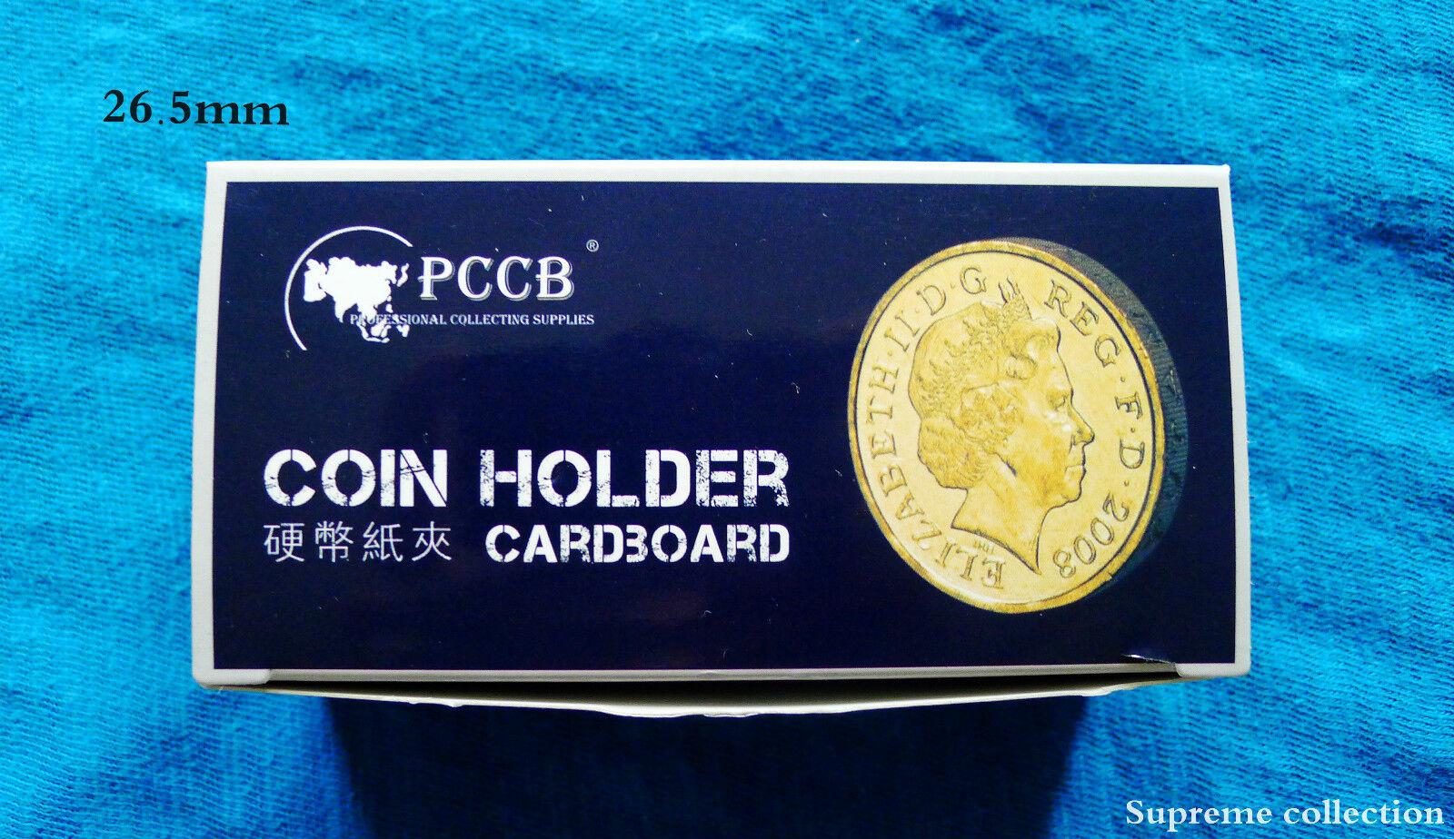 NEW 100 PCS COIN HOLDERS 2 X 2 CARDBOARD MYLAR FLIPS  DIAMETER 26.5MM ( US QUARTER )