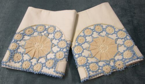 Antique Pillow Case Pair Hand Crocheted Trim Trousseau Pieces Unused w/ Label