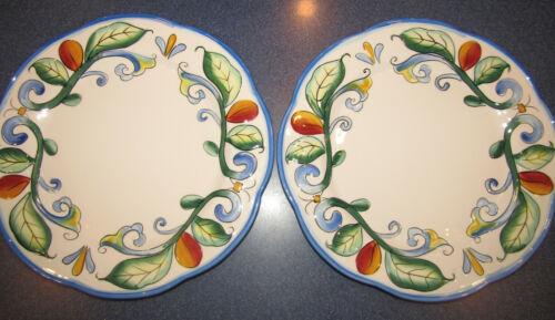 "Set 2 Fitz & Floyd Ricamo 11"" Dinner Plates Tuscan Design"