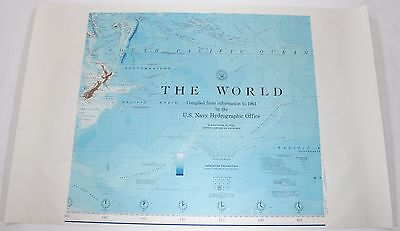 The World Pacific Basin 1961 Vintage Original US Navy Hydrographic Map