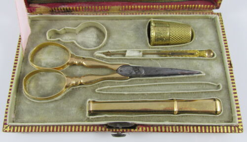 Antique French Red Leather&Gold Gilt Etui Box Case 18K Yellow Gold Sewing Tools