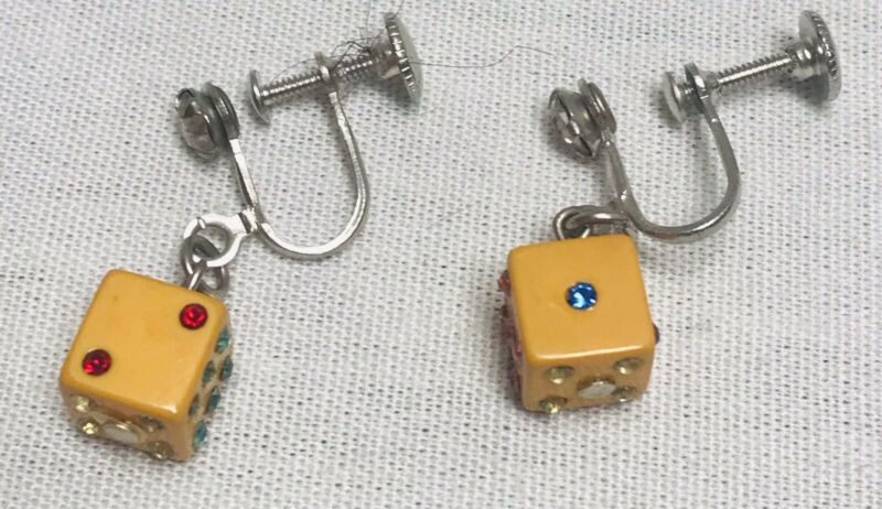 Vintage DICE Screw Back Clip Earrings Jeweled