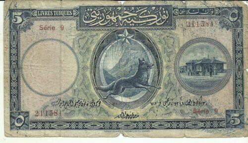 TURKEY 5 LIVRES 1926  P 120. SAME IN SCAN. 7RW 18JUN
