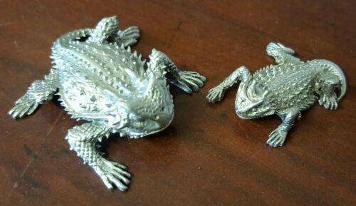 Horned Toad Horned Lizard Horny Toad Set of 2 Pewter Figurines w/ Bumper Sticker