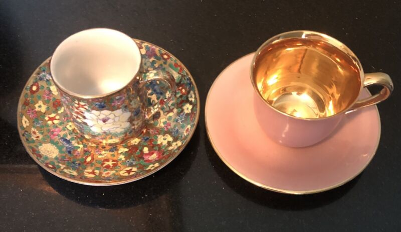 2 Sets Demitasse Cups And Saucers From Grandmothers Collection!