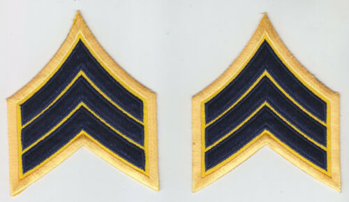 "SGT Sergeant Chevrons DARK NAVY BLUE on GOLD REFLECTIVE 3"" X 3.75 police/sheriff"