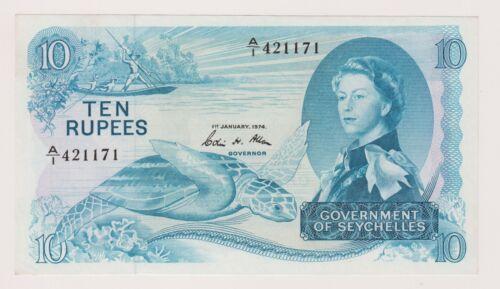 Seychelles 10 Rupees 1974 P15b A UNC Queen Elizabeth SCUM Sea Turtle Rare Note
