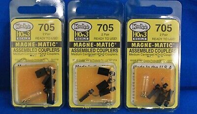 Lot of 3-HOn3 Scale - KADEE 705 Magne-Matic Medium Centerset Assembled Couplers