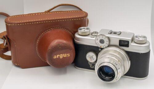 1957 - Argus C Four C4 35mm Film Rangefinder Camera Cintar 50mm F2.8 Lens & Case