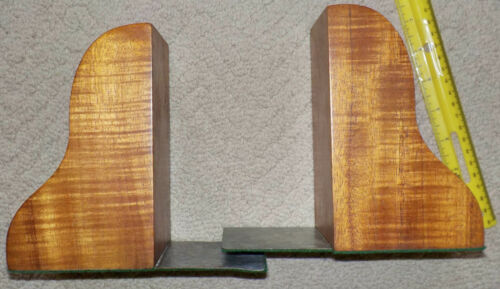 pair of vintage hawaiian koa wood bookends. hawaii
