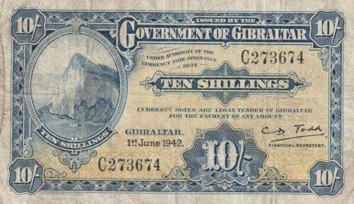 Vintage Gibraltar 10 Shillings Banknote June 1, 1942 Pick 14b US Seller