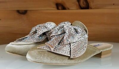 (CR Nude Velvet Flats Mules Clog Slipper Shoe Bow Detail With Rhinestones )