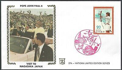 POPE JOHN PAUL II VISIT TO NAGASAKA JAPAN - ZASO SILK CACHET - NICE!