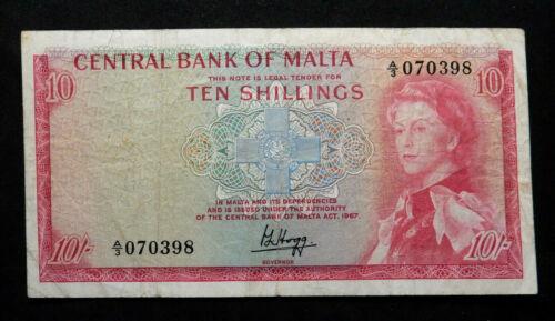 Malta 10 Shillings, 1967