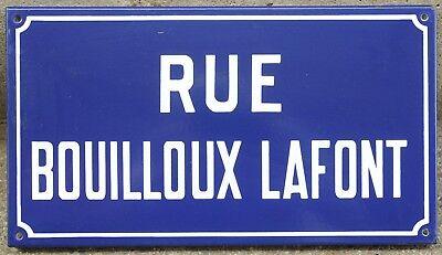 Old French enamel street sign plaque road name Bouilloux Lafont Etampes 1970s