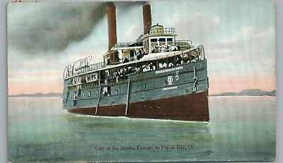 City of Straits Steamer PUT-IN-BAY OH Antique Ship Boat PC 1910s