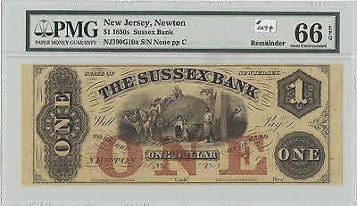 Obsolete  1 Sussex Bank Newton  Nj   1294  Nj390g10a  Remainder  Pmg 66 Epq