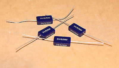 Batch Of 4 New Nos Rare Siemens Silver Mica Capacitors 34pf 500v 5