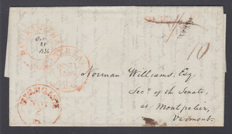 Canada 1836 Stampless SFL to Norman Williams, Sec of Vermont Senate, Historical