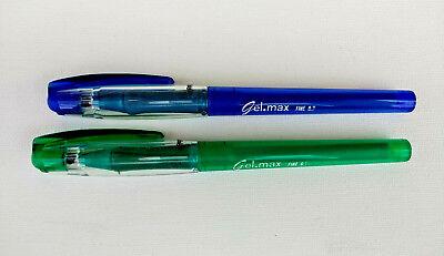 2 -Vintage Paper Mate  Eraser.Max Gel Pens 1-Blue I 1Green  Medium Tip Erasable