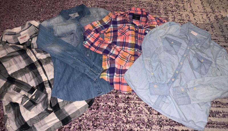 Women's Shirts Lot Of 4 Plaid, Denim, Mixed Brands Size Small Euc