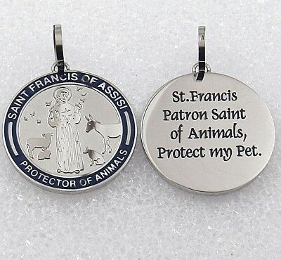 St Francis of Assisi Necklace Silver Stainless Steel Pet Rescue Dog Cat Animals