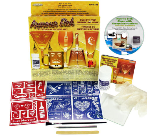 Glass Etching Kit + Cream, Reusable Stencils, Brush, Applicator, Cutter & More