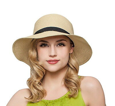 Women Floppy Sun Beach Straw Hats Wide Brim Packable Summer - Women's Straw Beach Hats