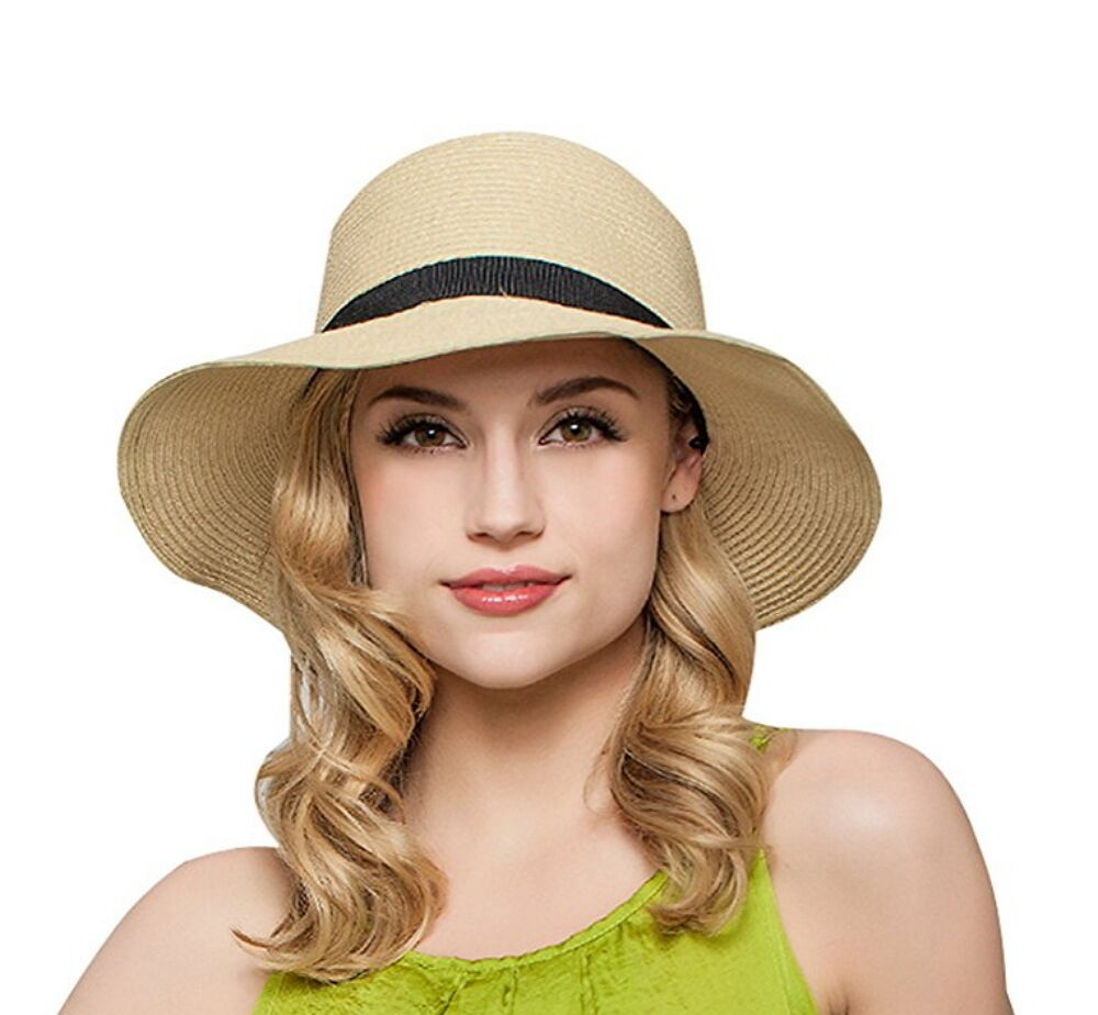 Women Floppy Sun Beach Straw Hats Wide Brim Packable Summer Cap Clothing, Shoes & Accessories