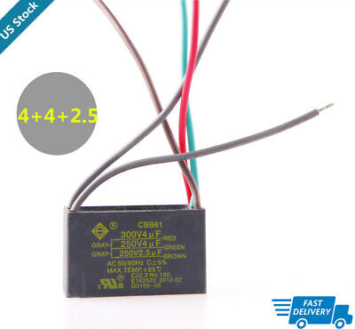 CBB61 Capacitor  5 Wire 4uf+4uf+2.5uf Start Run Ceiling Fan Capacitor 250V/300V