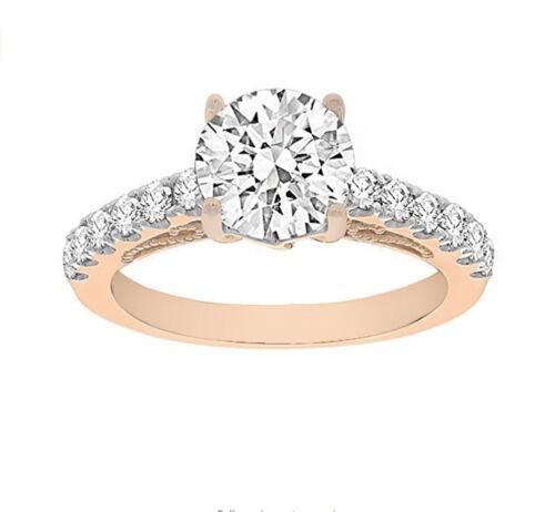 18k Rose Gold Ladies Diamond Engagement Ring 1.70 Ct. Natural Round Brilliant...