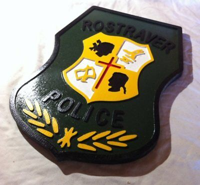 Police Rostraver 3D routed carved Patch plaque Sign Custom
