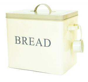Large Cream Retro Vintage Enamel Bread Bin Storage Box Container Tin w/ Scoop