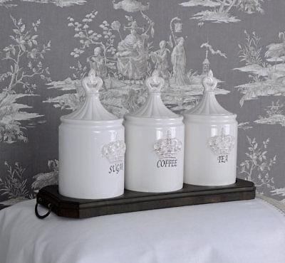 Küchendosen Vorratsdosen Shabby Chic Krone Deckeldose Vorratsbehälter Weiss
