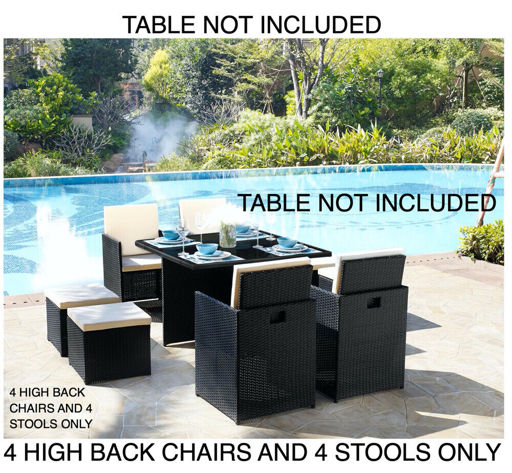 Garden Furniture - 4 Garden Furniture Dining Chairs and 4 Footstool Only PE Rattan New 8pc