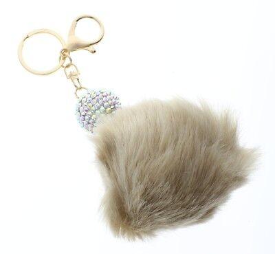 Disco Ball Keychains (Disco Ball with Tan Faux Fur Pom Pom Rhinestone bling Key Chain Fob Phone Purse)