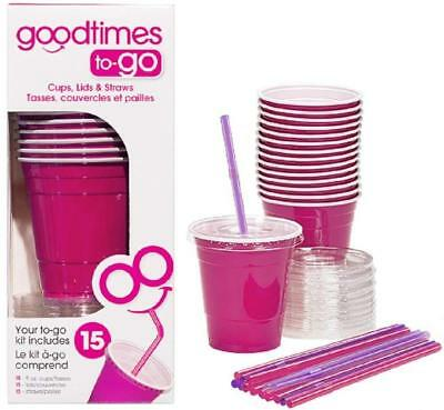 9oz To Cups (Goodtimes 9oz Kids Cups To-Go Kits With Lids And Straws (15,)