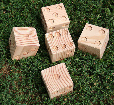 Outdoor Yard Dice Fun Game Yardzee Yahtzee Party Set of 5 Drilled Unfinished