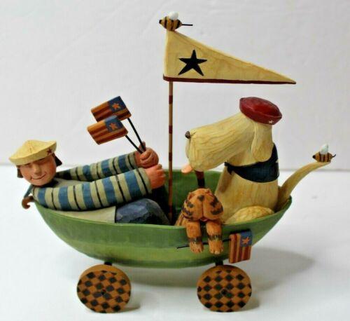 Williraye Studio Americana Folk Art Boat w/ Dog Cat Patriotic Flag Unmarked