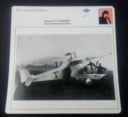 Aces, Engineers and Builders Raoul LUFBERY Military Photo Card w/Specification