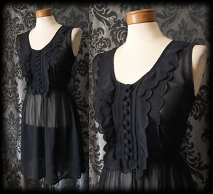 Gothic-Black-Sheer-Frilled-GOSSAMER-Buttoned-Tea-Dress-6-8-Victorian-Vintage