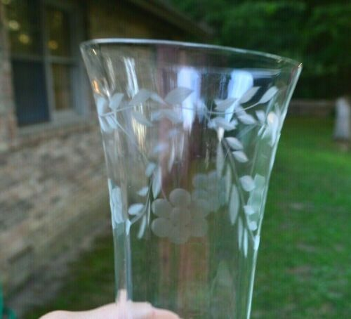 VTG Etched  Iced Tea Tumblers Glass Set of 10 Flower & Leaves design Antique