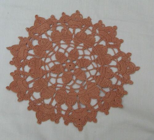 "New Hand Crocheted Doily Copper Mist Round 9.5"" Triple Crown Handmade"