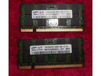 Samsung 4GB PC2-6400S-666 DDR2 Laptop Memory 2x2gb